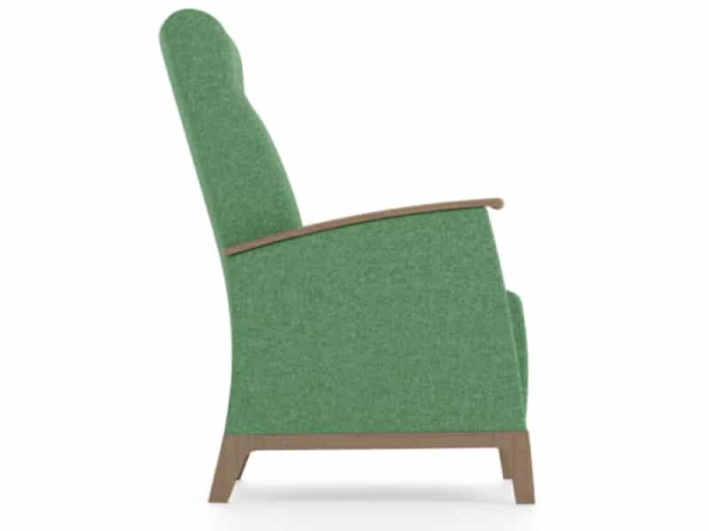 senioren relax fauteuil groene stoffering zijaanzicht