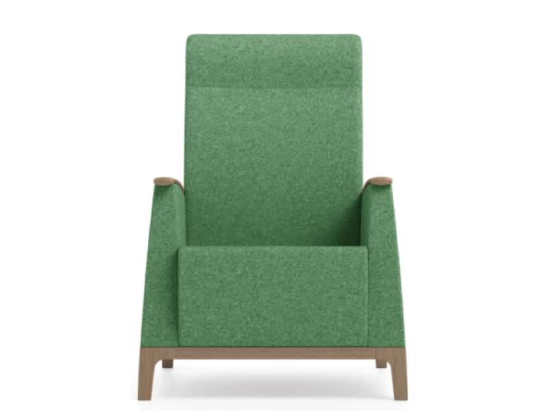 Senioren relax fauteuil groene stoffering vooraanzicht