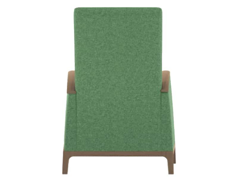 senioren relax fauteuil groene stoffering achteraanzicht